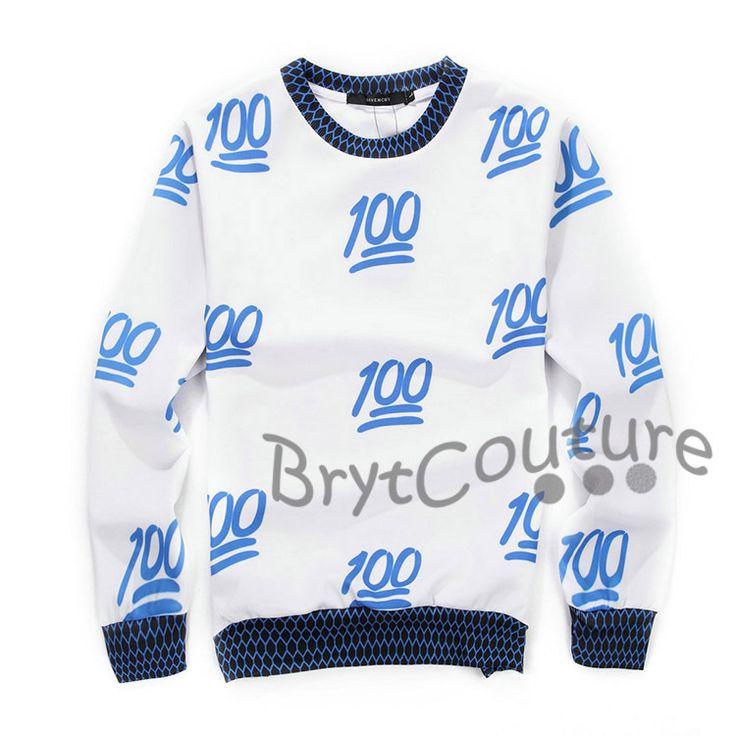 BrytCouture - BrytCouture Limited Edition 100 Emoji Sweatshirt Blue, US$59.99 (http://www.brytcouture.com/brytcouture-limited-edition-100-emoji-sweatshirt-blue/)