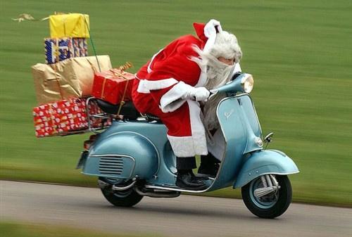 Santa  on a Vespa!