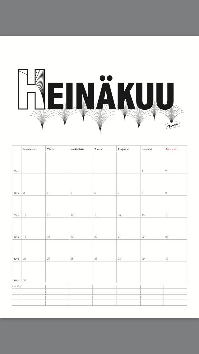 Ilmainen tulostettava heinäkuun 2017 seinäkalenteri #ilmainen#tulostettava #kalenteri #2017 #heinäkuu free#print#calendar #July