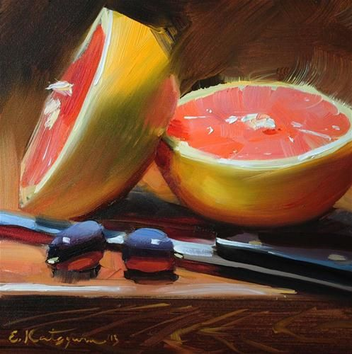 """Grapefruit Halves"" - Original Fine Art for Sale - © by Elena Katsyura"