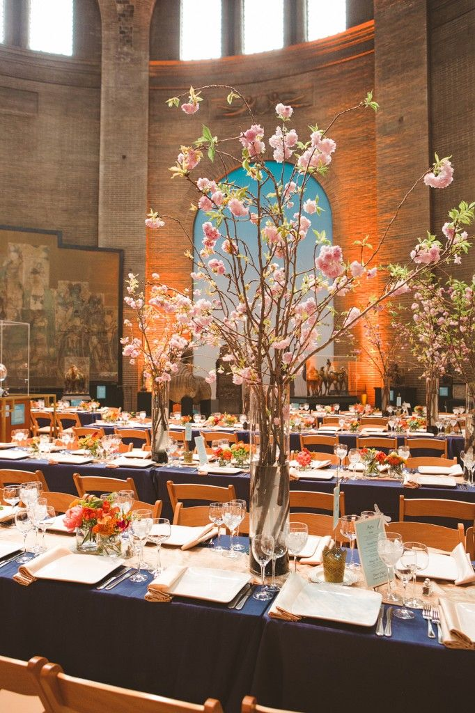 falls flowers wedding at the penn museum of archaeology anthropology tall flowering branch