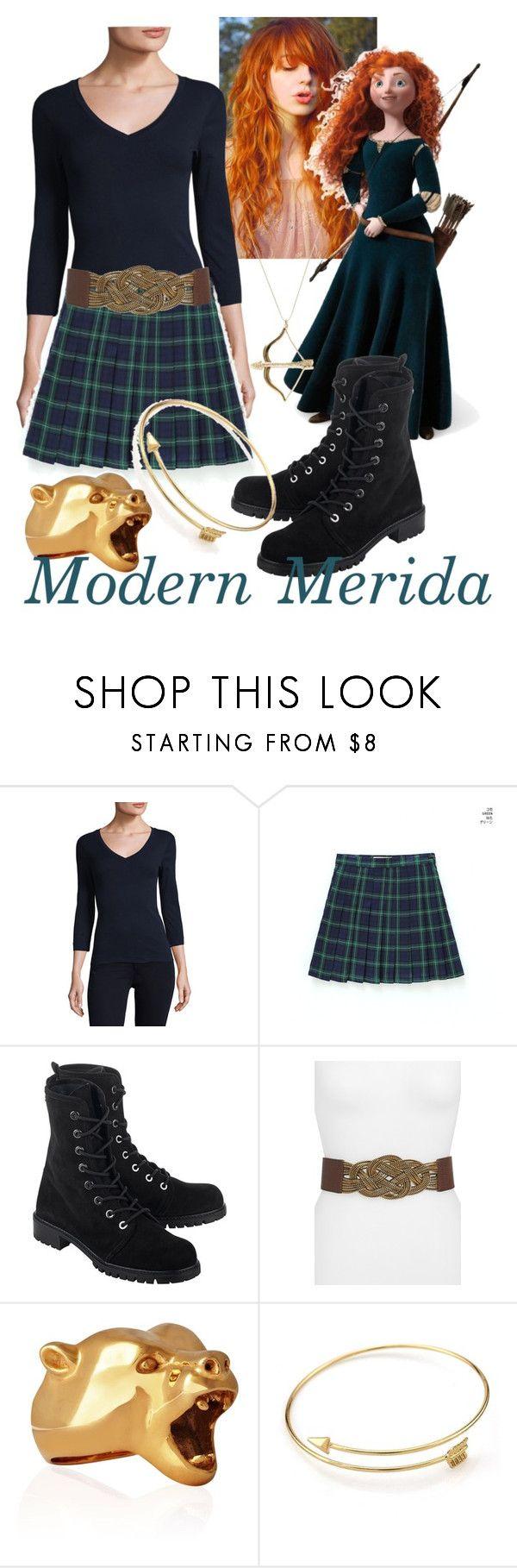 """Modern Merida"" by neverland-dancer ❤ liked on Polyvore featuring Three Dots, Merida, chuu, Stuart Weitzman, Steven by Steve Madden, StrangeFruit, Sydney Evan and modern"