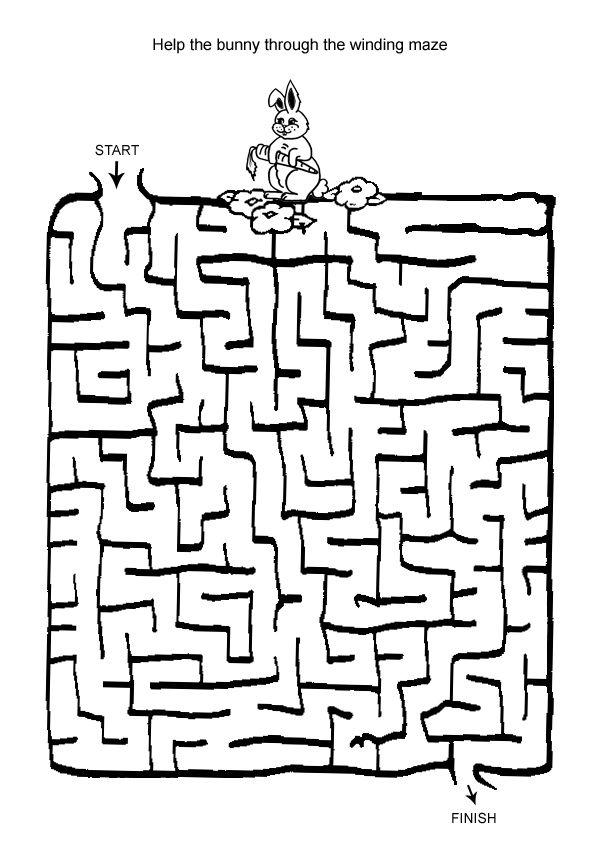 Hard Maze Games to Print   Free Online Printable Kids Games - Bunny Maze