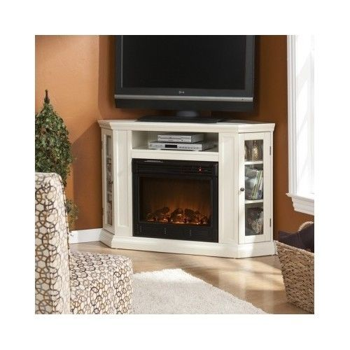 details about corner tv stand fireplace electric mantel white flatscreen entertainment center. Black Bedroom Furniture Sets. Home Design Ideas