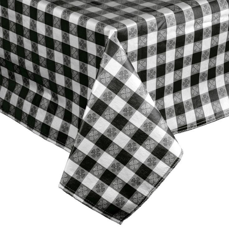 """52"""" x 52"""" Black-Checkered Vinyl Table Cover with Flannel Back"""