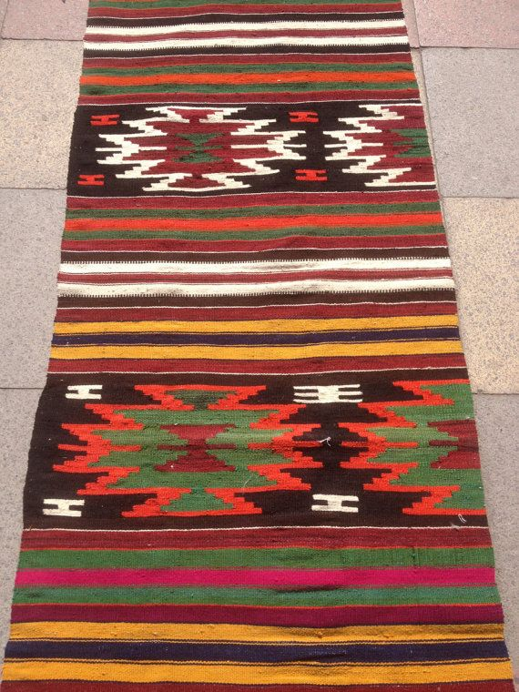 "Beautiful Vintage Turkish Runner Kilim Rug Handmade Wool Natural Dye Runner Kilim Rugs  27,1"" x 99,2"" (69cmx252cm)"