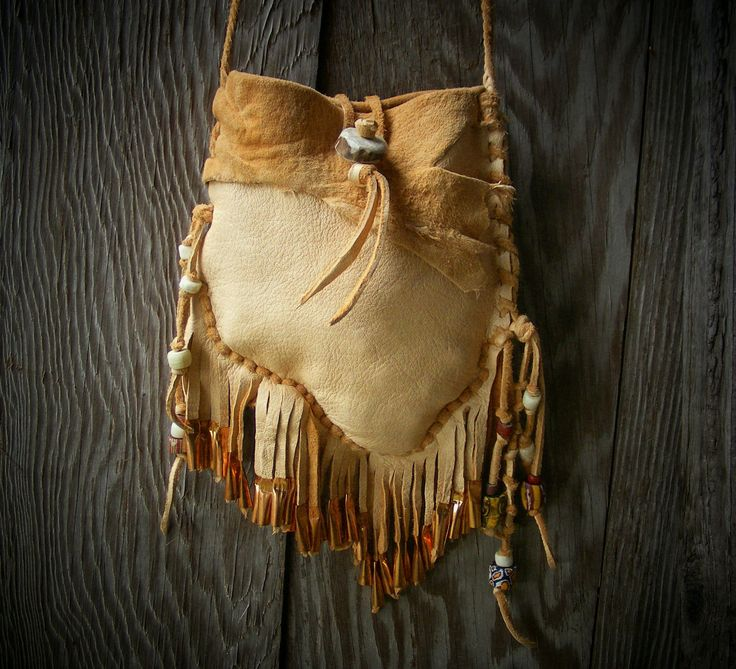 NAVAJO style Medicine Bag / spirit pouch with deerskin leather, deer antler button, copper jingle cones and antique trade beads