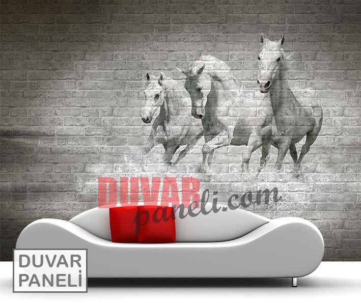 Resimli Duvar kaplama Beyaz Atlar
