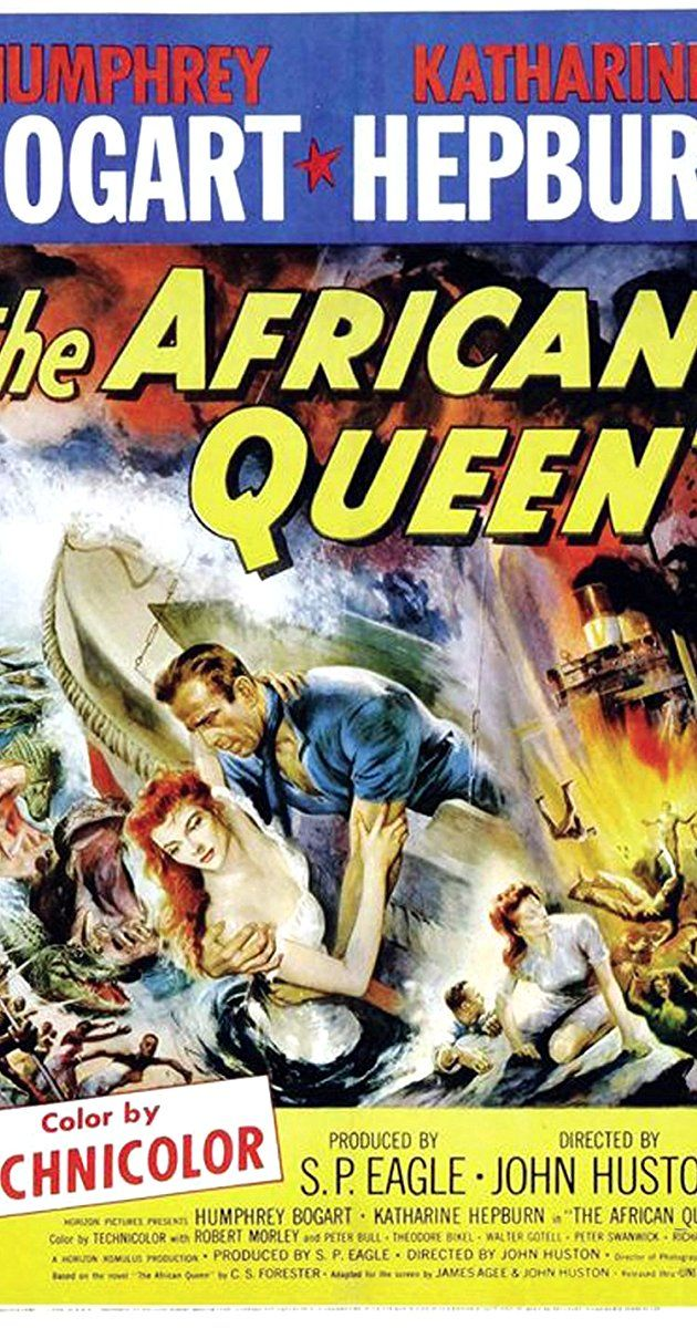 Directed by John Huston. With Humphrey Bogart, Katharine Hepburn, Robert Morley, Peter Bull. In Africa during World War I, a gin-swilling riverboat captain is persuaded by a strait-laced missionary to use his boat to attack an enemy warship.