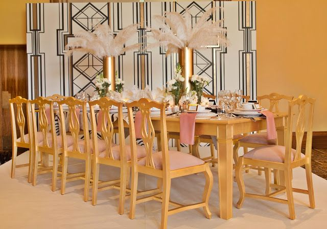 My Table Decor event featuring the work of interior designer Isabel Pires de Lima - Designer. Our Abbot chairs and Paris Dining table look stunning in a golden finishing, don't you think?