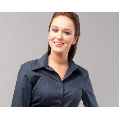 Womens Self Stripe 3/4 Sleeve Shirt Min 25 - Clothing - Business Shirts - Her Business Wear - AS-UN20131 - Best Value Promotional items including Promotional Merchandise, Printed T shirts, Promotional Mugs, Promotional Clothing and Corporate Gifts from PROMOSXCHAGE - Melbourne, Sydney, Brisbane - Call 1800 PROMOS (776 667)