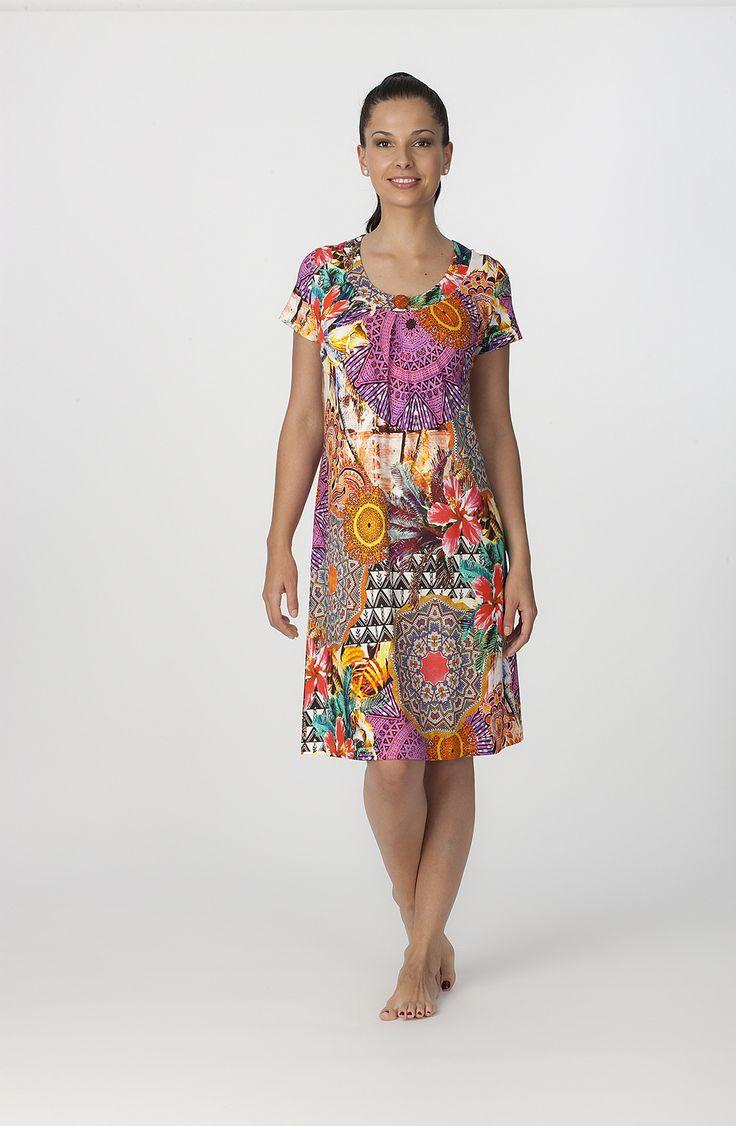 Vestido verano manga corta modelo Ethnic. http://www.perfumeriaelajuar.com/homewear/vestido-mujer--verano/34/