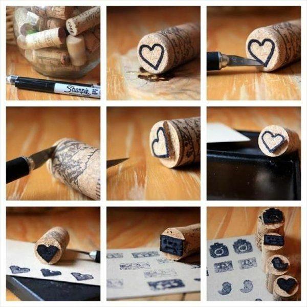 Basteln Korken herzen romantisch kleingeschenk