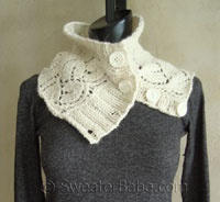 lace knit button-up cowl