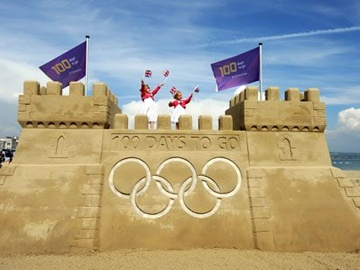 100 Days to Go Sandcastle2012 Olympics, Sands Castles, Olympics Games, London 2012, Giants Sandcastle, Olympics 2012, London Olympics, Weymouth Beach, Sands Sculpture