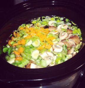 Slow cooker Bone Broth with Veggies