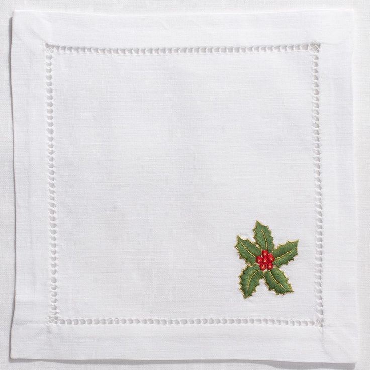 White Cotton Holly Christmas Cocktail Napkins, Set of Four