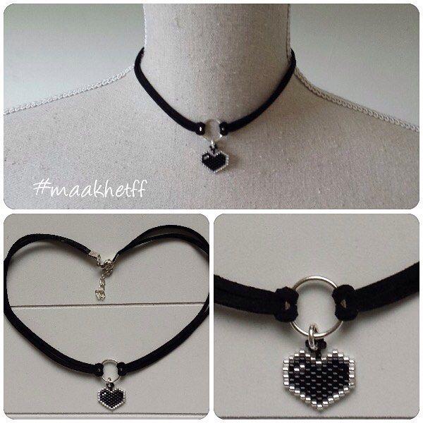 Choker van suede veters met een kralen hartje. Lengte = verstelbaar ca. 36 tot 38 cm. het hartje is gemaakt van Miyuki delicas. Prijs: 3,75 (excl. verzending) --- Choker made of leather and a little beaded heart. Made of Miyuki delicabeads. Length: adjustable 36-38 cm. Price: 3,75 Euro (shippingcosts not included) #hanger #choker #charm #necklace #hart #heart #ketting #handmade #handgemaakt #miyukidelicas #beads #kralen #maakhetff #instagramkoopjeshoek #craftspire #etsyseller #etsy #craft...