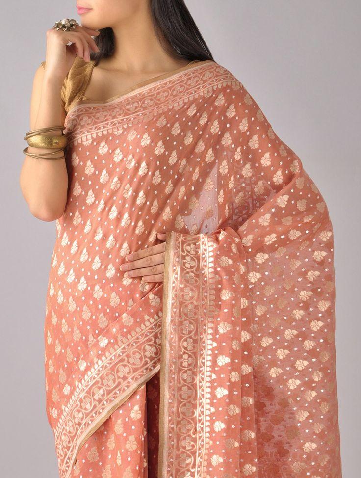 Buy Rust Golden Peach Gold Kora Silk Saree by Ekaya Banarasi Online at Jaypore.com