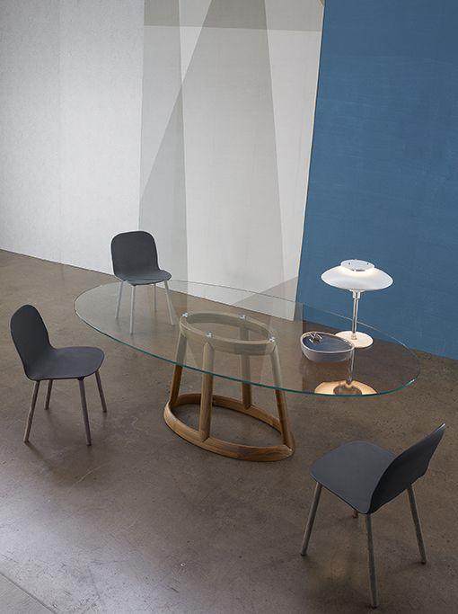 Brand new table GREENY with new chairs NAPI  Collection 2015 by BONALDO www.bonaldo.it  #new #milano #design #interior #italy #furniture #novelties #glass #wood #table #chair #bonaldo