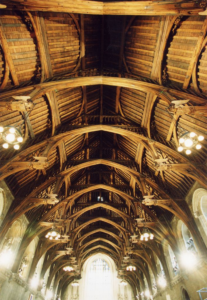 https://flic.kr/p/57C34r | Westminster Hall - ceiling | Westminster Hall is the oldest remaining part of the Houses of Parliament, with its walls being erected in 1097 in the reign of William Rufus. The roof was originally supported by two rows of pillars, but by 1399 Richard II wanted to make the Hall more impressive by building an unsupported roof. This great challenge was met by carpenter Hugh Herland and architect Henry Yevele. They solved the problem by building huge hammer shaped oak…