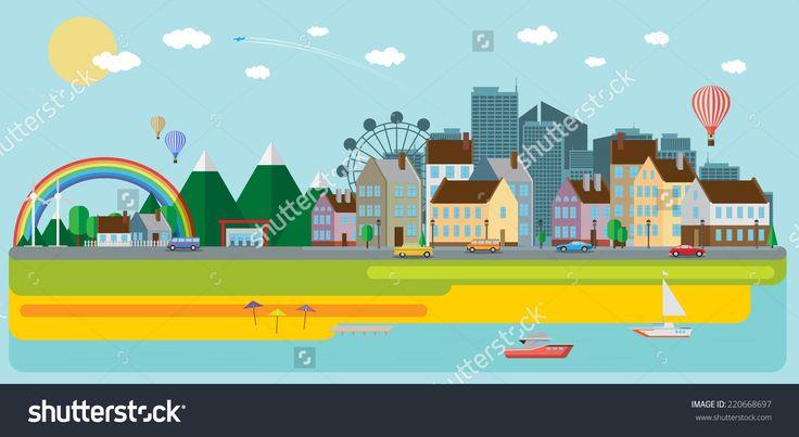 City Background Stock Vector Illustration 220668697 : Shutterstock