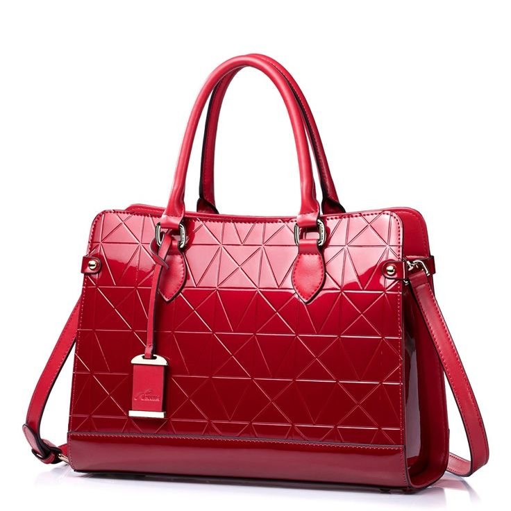 Geanta dama de lux, din piele naturala lucioasa, Wine Red