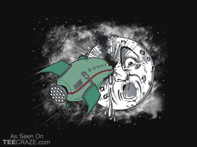 Voyage Dans La Lune T-Shirt - http://teecraze.com/voyage-dans-la-lune-t-shirt/ -  Designed by trheewood    #tshirt #tee #art #fashion #clothing #apparel