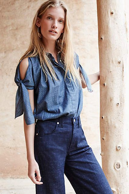 Split Chambray Top - anthropologie.com