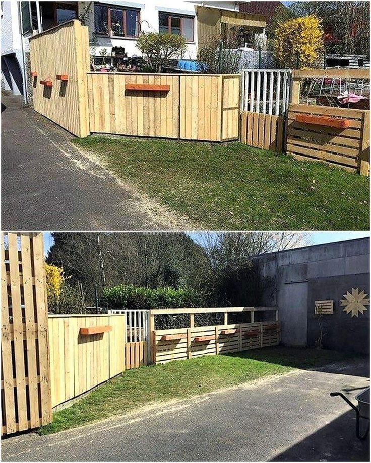 wood pallet patio fence with planters 1