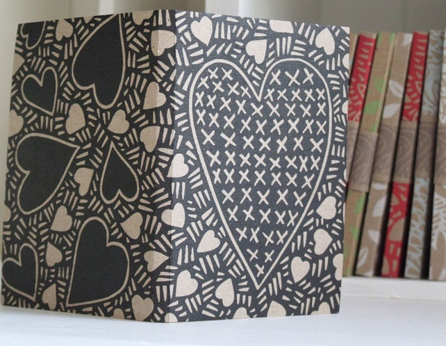 Heart Notebook, handprinted - Folksy