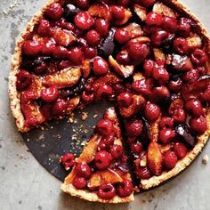 Oh wow. Roast fig and raspberry tart with almond crust. www.redonline.co....