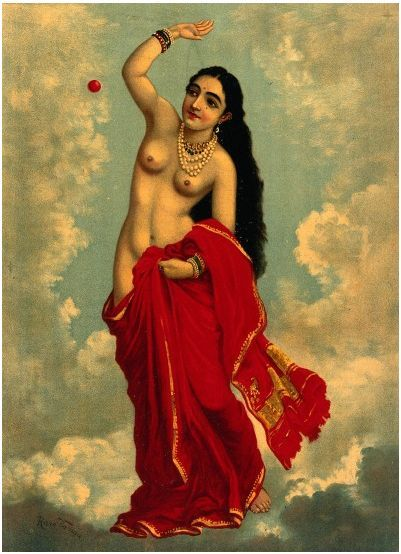 Half-clothed Tilottama flying in the sky playing with a red ball, Ravi Varma.   c.1896