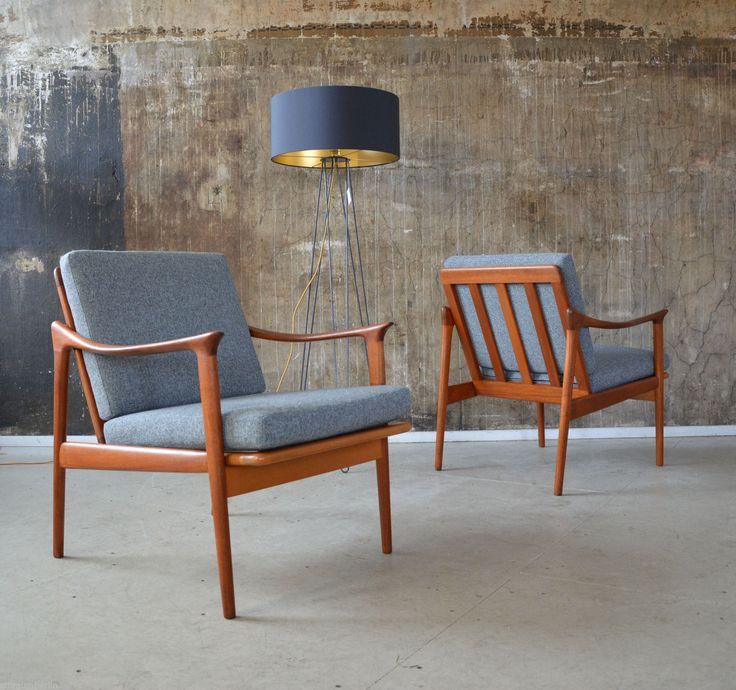1 2 Fredrik Kayser Mod 563 Teak Sessel Vatne 60s Easy Chair Midcentury   eBay
