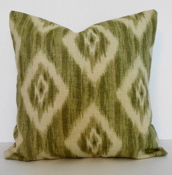 Green Ikat Throw Pillow : IKAT Linen Decorative Pillow Cover, Green, Olive Green, 16 x 16, Throw Pillow Cover Pillow ...