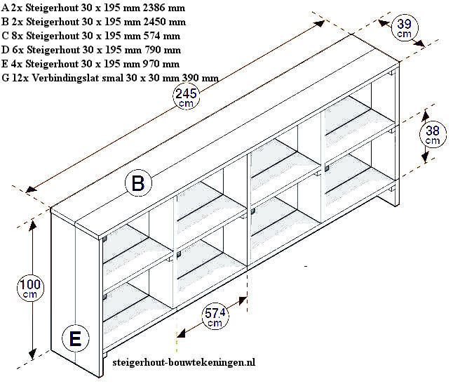 Vakkenkast van steigerhout, laag model wandmeubel.
