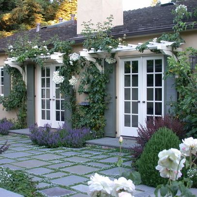 I love the grey walls and shutters with slate pavers, add lavender ,perfect -Vine Covered Pergola Design Ideas, Pictures, Remodel, and Decor - page 11