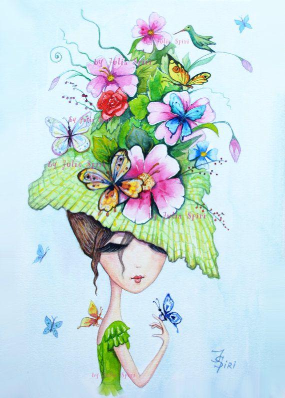 Digital Stamp Digi Coloring Hat stamps Butterfly by JuliaSpiri