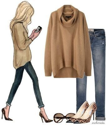 Oversized camel sweater, skinny jeans and leopard print heels