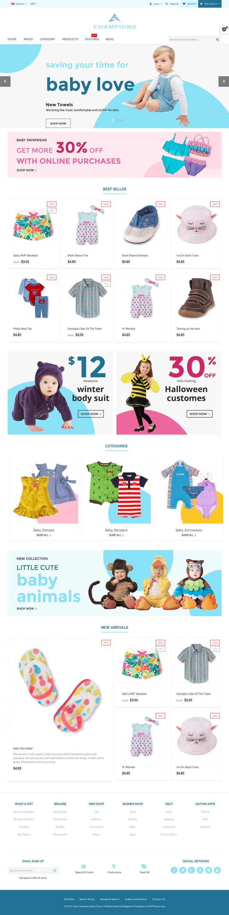 Champions is a premium Magento theme with advanced admin module. It's extremely customizable, easy and fully responsive. Suitable for every type of store. #kids #children #store #website