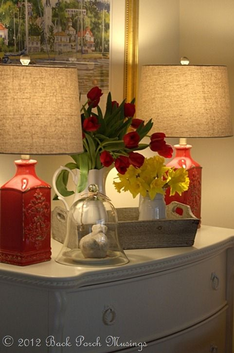 LoVe these Lamps .. Not crazy bout the shades but seriously loving the Red