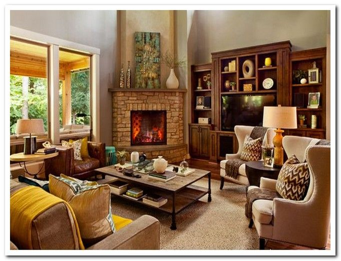 40 best images about corner fireplace arrangements on for Furniture arrangement small living room with fireplace