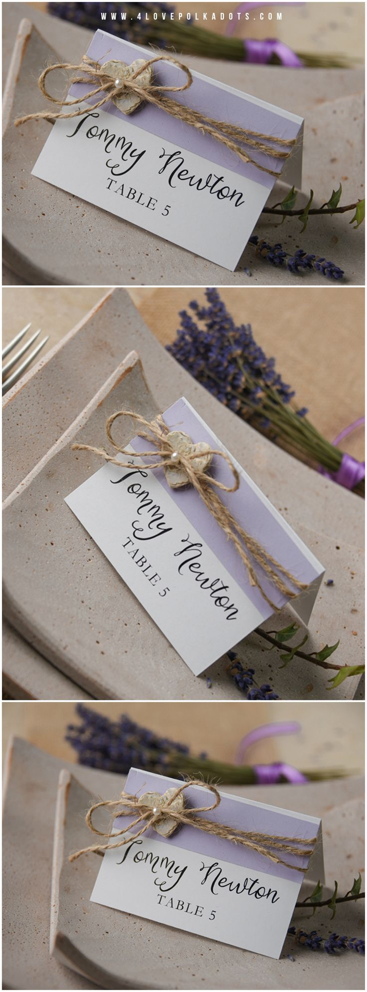 Lavender Rustic Wedding Place Card romantic simple