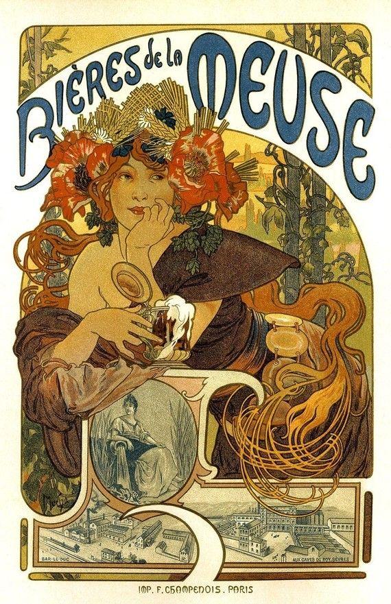 11x17 Vintage French Advertisements Poster. Art nouveau. Bieres de la Meuse by Mucha - 015. $15.00, via Etsy.