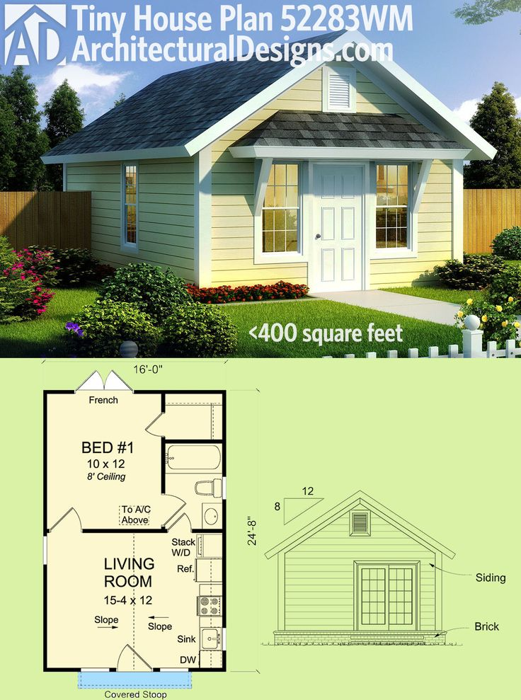Architectural Designs Tiny House Plan 52283WM gives you a vaulted living area and a bedroom with french doors to the back and gives you just under 400 sq. ft. of living. Ready when you are. Where do YOU want to build?