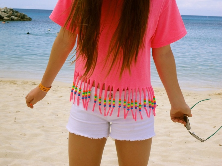 I think this shirt with fringe and beads on the end is cute you could even do it as a crop top also.