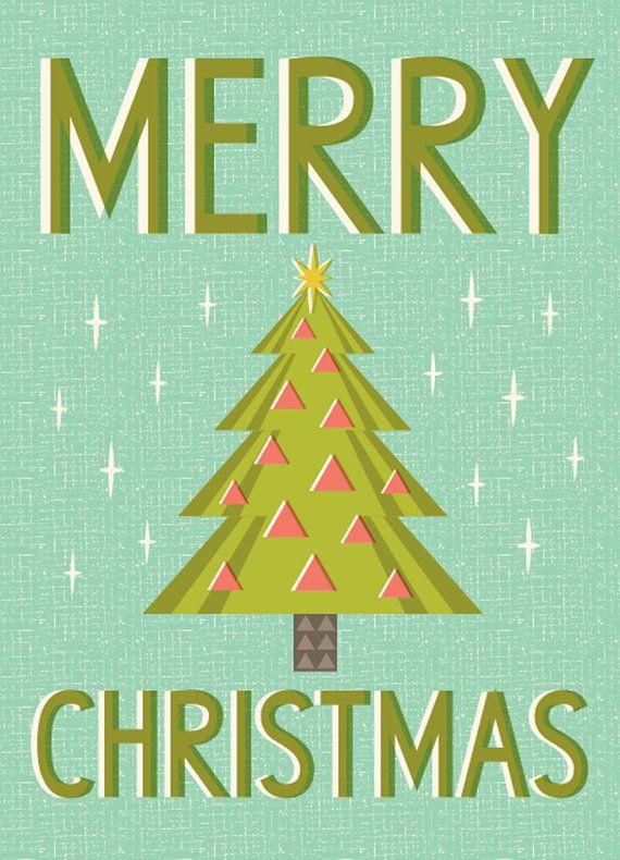 merry christmas card van hillarybird op Etsy, $5.00