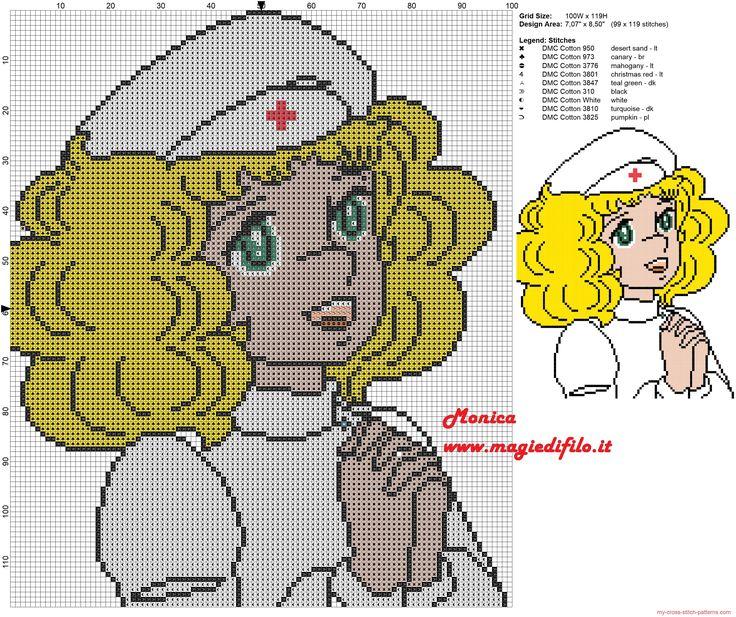 Candy Candy enfermera patrón punto de cruz