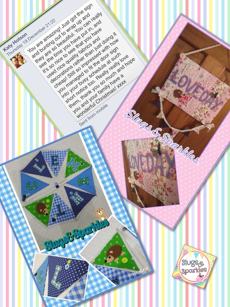 Bunting and door sign with review .... completely handmade all appliqués hand drawn, cut and sewn by myself