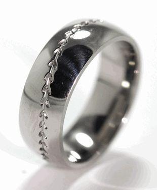 Titanium Baseball Ring, Sports Wedding Rings - Titanium-Buzz.com sports save the dates, baseball save the dates #wedding #sports